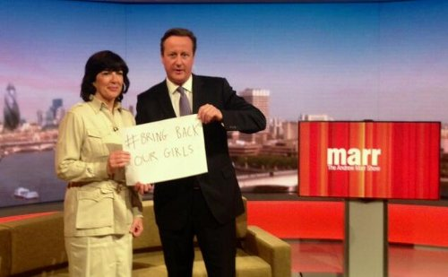 David Cameron and Christiane Amanpour supporting Bring Back Our Girls #BringBackOurGirls