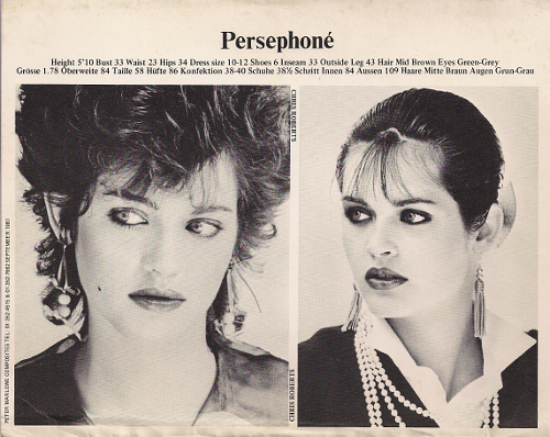 © Model: Persephone (Z-card A), Photographers: Chris Roberts 1981, Hair: Ian Robson. Models1 London