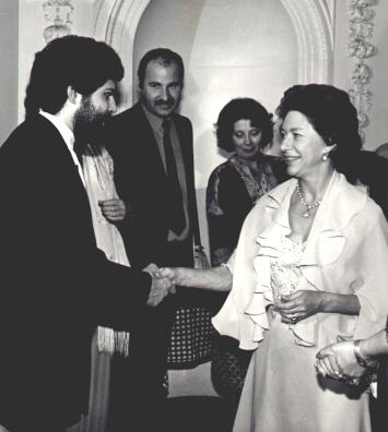 Me being presented to Princess Margaret at the silk commission fashion show Edinburgh just before Princess Diana's wedding in 1981